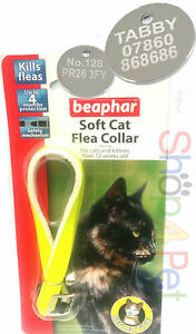 REFLECTIVE FLEA COLLAR FLUORESCENT BEAPHAR With or Without Engraved Pet ID Tag