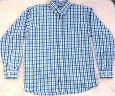 VTG Ralph Lauren Polo Club Shirt Preppy Hipster Button Blue Plaid Cotton Mens M