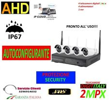 KIT WIRELESS VIDEOSORVEGLIANZA AHD 2MP DVR FULL HD 4 TELECAMEREFAI DA TE LED ARR