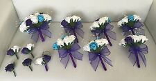 WEDDING PACKAGE ARTIFICIAL FLOWERS FOAM ROSE BOUQUETS PURPLE WHITE TURQUOISE