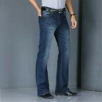Men Bell Bottom Jeans Vintage 60s 70s Flared Denim Pants Hippie Regular Fit Blue