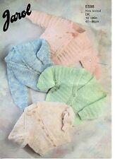 """Jarol 598 Vintage Baby Knitting Pattern DK 16-26"""" Round & V Neck Cardigans"""