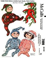 """McCall's # 7099 Pixie Doll Virginia Black Fabric Sewing Pattern 16"""" Holiday Elf"""