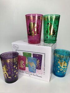 Disney Aladdin Moroccan Tea /juice Glasses Set 4,GoldTrim 8oz Genie Jasmine Abu