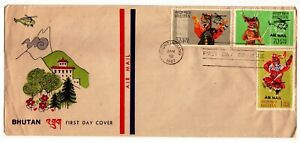 Bhutan-10Diff 1967 Ovptd Air Mail Stamps FD Cancelled with 4 Diff Cover #15FD13