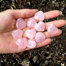 Rose Quartz Heart Shaped Pink Crystal Carved Palm Love Healing Gemstones GN