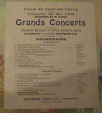 Affiche Publicitaire Propagande Pont-de-Veyle 1905 Concerts Chorale de Mâcon