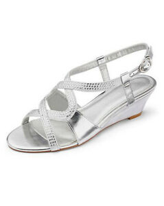 LADIES SILVER EXTRA WIDE FIT EEE COMFY LOW HEEL DIAMANTE WEDGES SHOES SIZES 4-9
