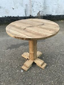 Rustic Reclaimed Scaffold Board Industrial Style Round Pedestal Dining Table