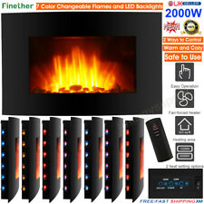 2000W LED Curved Glass Electric Fireplace Wall Mounted Fire Place Heater+ Remote