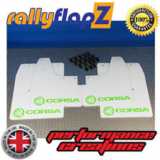 rallyflapz passend für Opel Corsa C (00-07) Schmutzfänger weiß Logo hellgrün 4mm