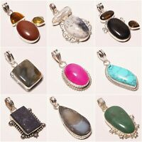 WHOLESALE LOTS ! Tigereye Jade Labradorite onyx Ruby  Silver Plated Pendant 2.5""