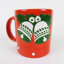 Waechtersbach Christmas Mug Cup Red with White and Green Bells Germany Ceramic
