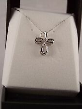 Looped Ribbon Motif * Sterling Silver Cross with a