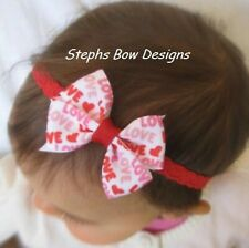 Love print Dainty hair bow Headband Preemie Newborn Toddler Valentines
