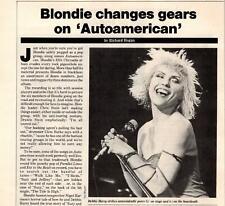 """1981 Vintage 5Pg Print Article/Photos On Debbie Harry Of Blondie """"Autoamerican"""""""