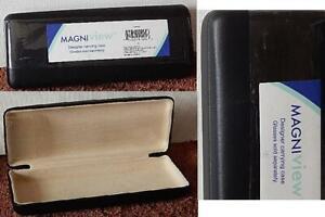 "MAGNIview Black Designer Eye Glasses Carrying Hard Case Slim Rectangular 6"" Long"