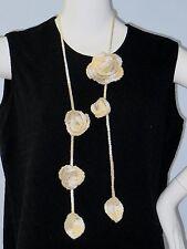 New Handmade Crochet Yellow Rose Flower Scarf Necklace Lariat