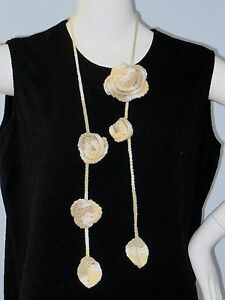 New Handmade Crochet Yellow Rose Flower Scarf Necklace Lariat