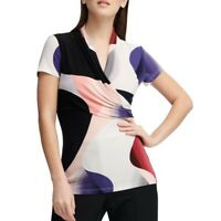 DKNY NEW Women's Multicolor Printed Ruched Blouse Shirt Top XXL TEDO