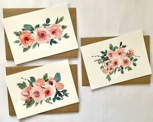 Pretty Pink Floral Rose A6 Blank Note Cards with/out Envelopes 3 Designs 10-50