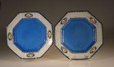 Ruskin Pottery Pair of Cobalt Blue Art Deco Octagon  Plates , 1920's England