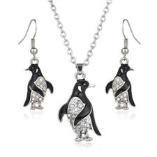 """Penguin Necklace & Earrings Set - Sparkling Crystal - Fish Hook - 17"""" Chain"""