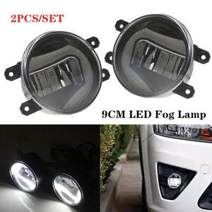 2PCS Car Full LED Fog Lamp Angel Eye W/Sun Light Front Bumper Lighting Universal