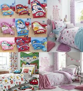 DISNEY KIDS TV CHARACTERS JUNIOR TODDLER COT BED DUVET COVER SET PINK RED BLUE
