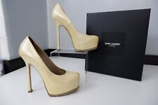 YSL yves saint laurent Tribute Court Shoes Size 37 Uk 4 Heels Yellow Gold Boxed