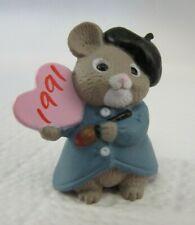 Hallmark Valentine Merry Miniature (1991) Artist Mouse w/ Heart Palette (dated)
