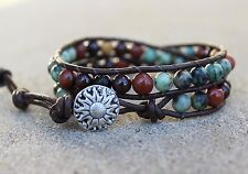 Multi Gemstone African Turquoise Beaded Bracelet double Wrap Bracelet leather