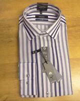 Seidensticker Mens Blue White Stripe 100% Cotton Long Sleeve Shirt Size 15 New