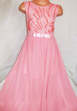 GIRLS PASTEL PINK SHIMMERY SEQUIN LACE CHIFFON FULL LENGTH MAXI PARTY DRESS