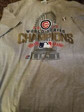 Cubs 2016 World Series Champions Men Tshirt Size Large Color Grey Short Sleeves
