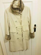 Karen Millen Women's Cream Coat Military Style Coat With Fur Size 12