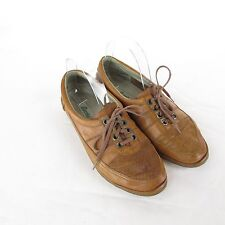 Vtg Bertie Italy Brown Leather Shoes SZ 39 Lace Up Oxfords Perforated Casual