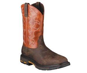 Ariat Mens WorkHog Square Toe Steel Toe Work Boot Dark Earth Brick Red 10006961