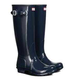 SALE New Ladies Tall Gloss Hunter Wellies Wellington Boots Navy Size UK 3