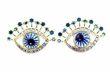 blue iris, evil eye earrings Goth punk style watching eyes,