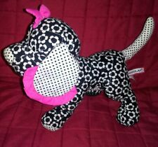 Douglas Quilted Puppy Dog Black White Flowered Fabric 10in Plush Pink Bow 2010