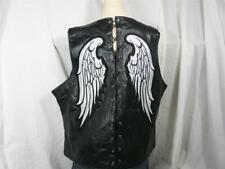 Women 3X Black Buffalo Leather Angel Wings Lace Motorcycle Vest NWT