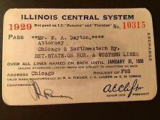 1929 Illinois Central Railroad Company railroad pass