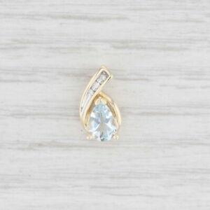 Aquamarine Diamond Teardrop Pendant 10k Gold Pear Solitaire March Birthstone