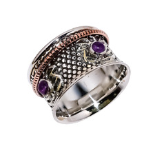 Solid 925 Sterling Silver & Copper African Amethyst Two Tone Spinner Ring LS-558