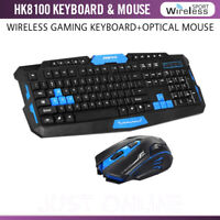 2.4GHz HK8100 Wireless Ergonomic Gaming Keyboard & 4 Buttons Optical Mouse Set