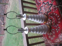 Pair Ceramic Mid-Century Modern Table Lamps Speckled Gold White Atomic