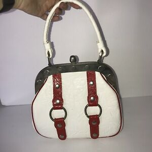 Vintage White Red Buckle handbag Framed Faux Leather purse Hippie 1970s
