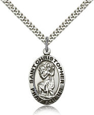 """Saint Christopher Medal For Men - .925 Sterling Silver Necklace On 24"""" Chain ..."""