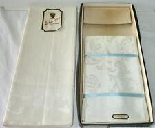 Erinore Irish Linen Tablecloth & Napkins (12) NOS Orig Box Banquet Size 66 x 102